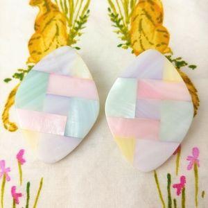 Vintage Pastel Colorblock Diamond Shaped Earrings
